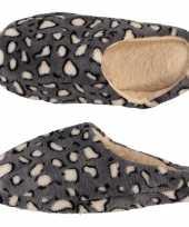 Vergelijk pluche instap sloffen pantoffels dierenprint luipaard voor dames maat 39 40 prijs