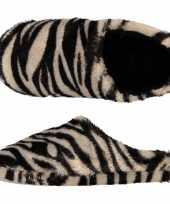 Vergelijk pluche instap sloffen pantoffels dierenprint zebra voor dames maat 41 42 prijs