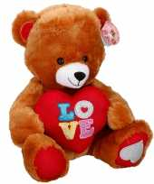 Vergelijk pluche valentijnsdag beer knuffeldier met hart bruin 43 cm prijs