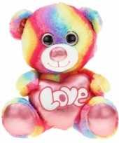Vergelijk regenboog kleuren troetelbeer knuffel 40 cm prijs