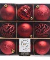 Vergelijk rode kerstdecoratie kerstballen set van kunststof 9 stuks prijs