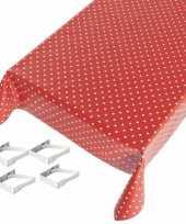 Vergelijk rode tafelkleden tafelzeilen polkadot print 140 x 170 cm rechthoekig met 4x tafelkleedklem