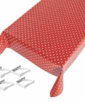 Vergelijk rode tafelkleden tafelzeilen polkadot print 140 x 245 cm rechthoekig met 4x tafelkleedklem