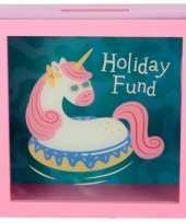 Vergelijk roze vakantiefonds spaarpot met raam vakantie eenhoorn 18x18 cm prijs