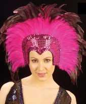Vergelijk roze veren hoofdtooi deluxe prijs