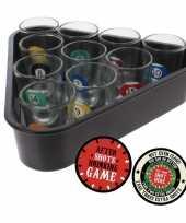 Vergelijk shotglaasjes biljart drankspel drinkspel 11 delig met plaats je shotglas viltjes 10x prijs