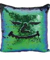 Vergelijk sierkussen blauw groen metallic met draaibare pailletten 40 cm prijs