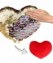 Vergelijk sierkussen hartje goud rood metallic met draaibare pailletten 30 cm prijs