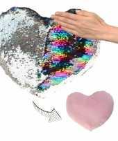 Vergelijk sierkussen hartje zilver roze metallic met draaibare pailletten 30 cm prijs