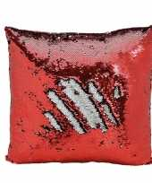 Vergelijk sierkussen rood metallic met draaibare pailletten 40 cm prijs