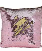 Vergelijk sierkussen roze metallic met draaibare pailletten 40 cm prijs