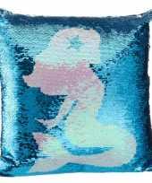 Vergelijk sierkussentje blauwe pailletten met zeemeerminnen silhouet 40 x 40 cm prijs