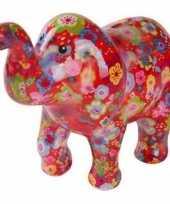 Vergelijk spaarpot rode olifant met bloemetjes print 20 cm prijs