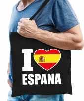 Vergelijk spanje schoudertas i love espana zwart katoen prijs