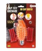 Vergelijk speelgoed handgranaat met klappertjes met 96 schoten oranje 14 cm prijs