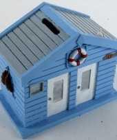 Vergelijk strandhuis spaarpot blauw 13 cm prijs