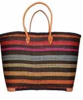 Vergelijk strandtassen zwart multikleur streep print riet stro 52 cm prijs