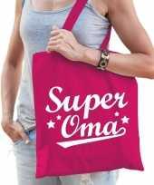 Vergelijk super oma cadeau tas roze katoen prijs