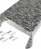 Vergelijk tafelkleden tafelzeilen stenen print 140 x 245 cm rechthoekig met 4x tafelkleedklemmen pri