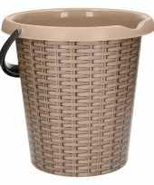 Vergelijk taupe schoonmaakemmer met rotanprint 12 liter prijs