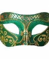 Vergelijk venetiaans masker glitter groen goud prijs