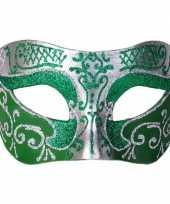 Vergelijk venetiaans masker glitter groen zilver prijs