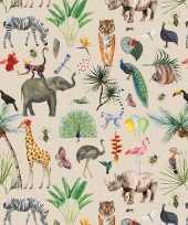 Vergelijk verjaardag kadopapier taupe jungle 200 x 70 cm voor kinderen prijs