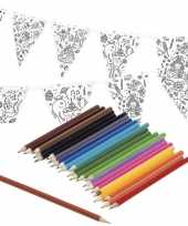 Vergelijk verjaardag slinger vlaggenlijn om in te kleuren met potloden voor kinderen prijs