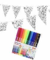 Vergelijk verjaardag slinger vlaggenlijn om in te kleuren met stiften voor kinderen prijs