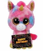 Vergelijk verjaardagcadeau eenhoorn knuffel ty beanie 24 cm gratis verjaardagskaart prijs