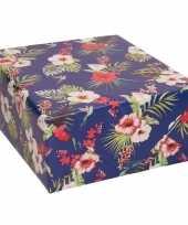 Vergelijk verjaardagscadeau inpakpapier blauw met hibiscussen 70 x 200 cm prijs