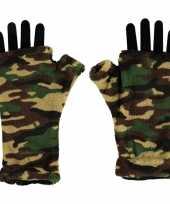 Vergelijk vingerloze fleece handschoenen camouflage print voor volwassenen prijs