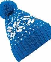 Vergelijk wintermuts nordic print blauw voor meisjes prijs