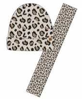 Vergelijk wintersetje sjaal en muts beige panter luipaard print voor meisjes prijs