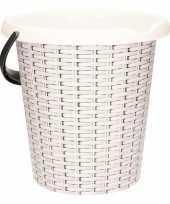 Vergelijk witte schoonmaakemmer met rotanprint 12 liter prijs