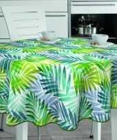 Vergelijk witte tafelkleden tafelzeilen tropische palm blaadjes print 160 cm rond prijs