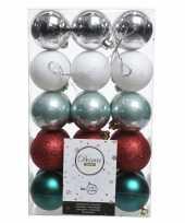 Vergelijk zilver rood groene kerstballen set 6 cm prijs