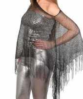 Vergelijk zilveren carnaval poncho omslagdoek stola dames prijs