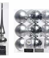 Vergelijk zilveren kerstversiering kerstdecoratie set piek en 12x kerstballen 8 cm glans mat prijs