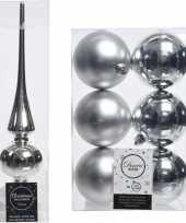 Vergelijk zilveren kerstversiering kerstdecoratie set piek en 6x kerstballen 8 cm glans mat prijs