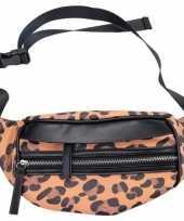 Vergelijk zwarte bruine luipaardprint heuptas fanny pack cross body tas 30 cm nel tijgervel prijs