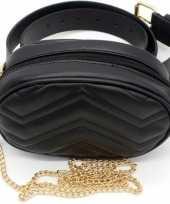 Vergelijk zwarte gestikte heuptas fanny pack cross body schoudertas 19 cm pu leer prijs