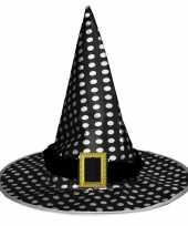 Vergelijk zwarte heksenhoed met witte stippen voor volwassenen prijs