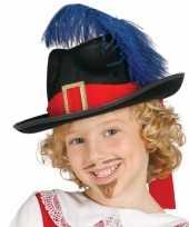 Vergelijk zwarte musketiers hoed met veer voor kinderen prijs