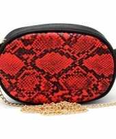 Vergelijk zwarte rode slangenprint heuptas fanny pack cross body schoudertas 19 cm pu leer prijs