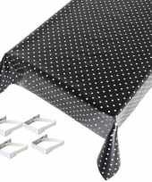 Vergelijk zwarte tafelkleden tafelzeilen polkadot print 140 x 170 cm rechthoekig met 4x tafelkleedkl