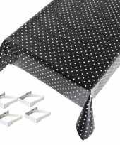 Vergelijk zwarte tafelkleden tafelzeilen polkadot print 140 x 245 cm rechthoekig met 4x tafelkleedkl