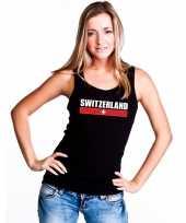 Vergelijk zwitserland supporter mouwloos shirt tanktop zwart dames prijs